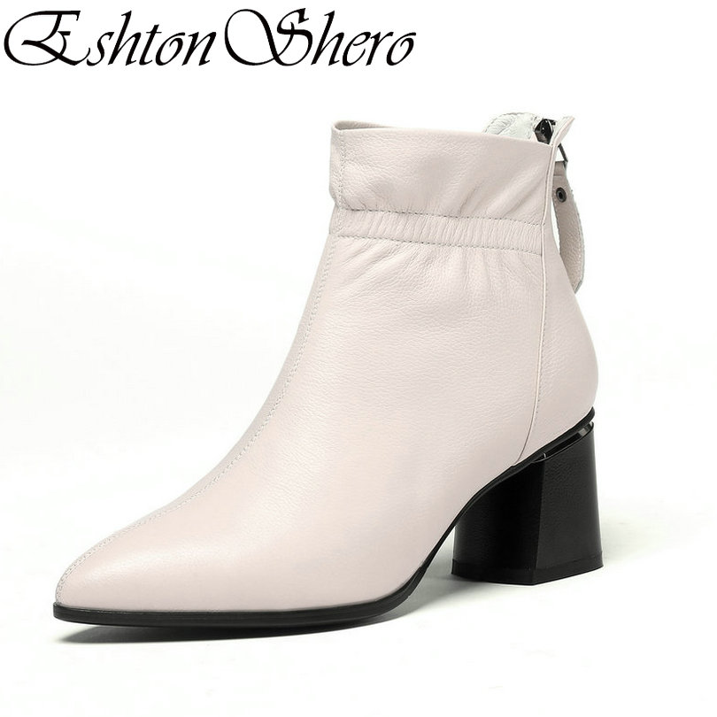 EshtonShero zimowe buty kobieta botki skóry + PU kobiet szpilki zamek moda damskie buty motocyklowe rozmiar 34 42 w Buty do kostki od Buty na  Grupa 1