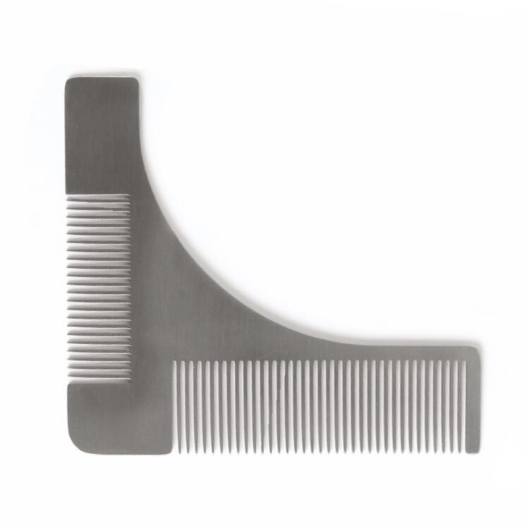 Stainless Steel Beard Shaping Tool Beard Modeling Template Carding Tool Beard Comb for Men's Shaving stainless steel cuticle removal shovel tool silver