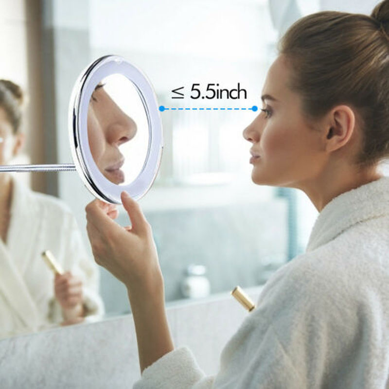 LED Mirror Light Makeup Mirror 360 Degree Rotation 10X Magnifying Makeup Mirror Suction Wall Mount Bathroom Bedroom Night Lamp (10x Magnifying)