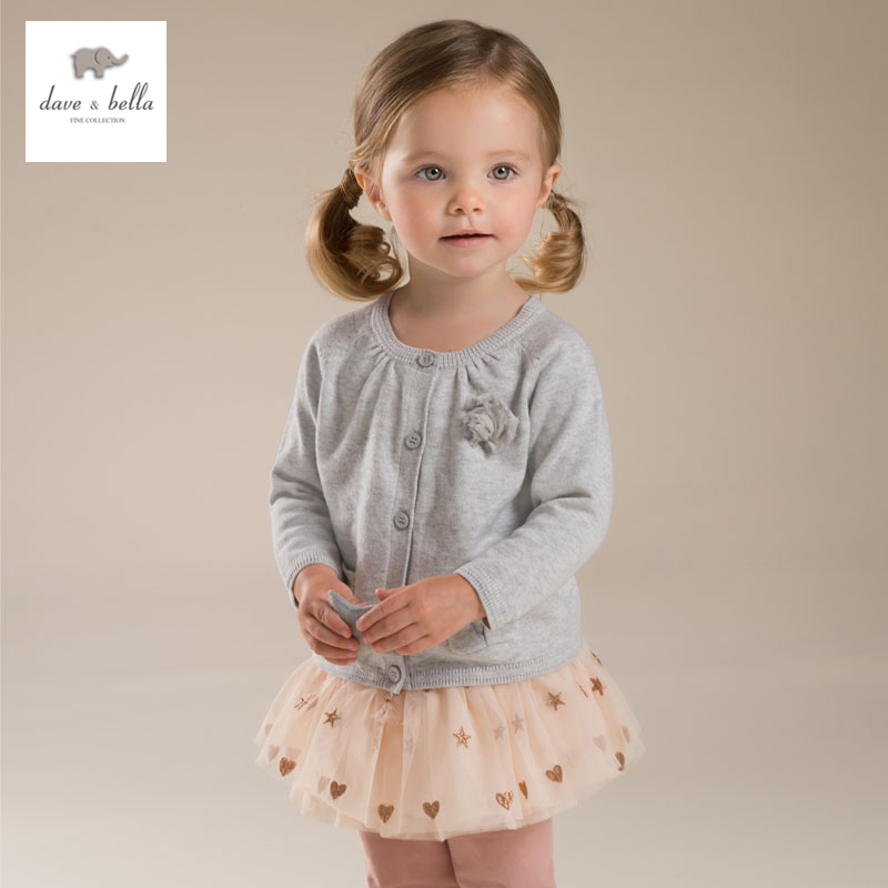 DB3672 dave bella autumn baby girl sweet design cardigan  toddler sweaters infant clothes  girl soft sweater high quality db2315 dave bella autumn winter baby boy turtleneck sweater infant clothes toddle cotton wool sweater boys plum sweaters