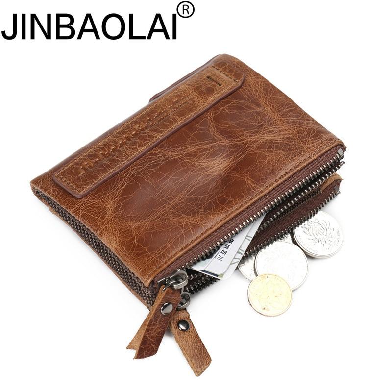 Vintage Zipper Luxury Fashion Real Cowhide Men Genuine Leather Wallet Male Purse Small Perse Short Walet Money Bag Cuzdan Vallet