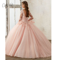 2019 Light Pink Quinceanera Dresses Long Sleeves Ball Gown Princess Sweet 16 Birthday Sweet Girls Prom Party Special Occasion Go