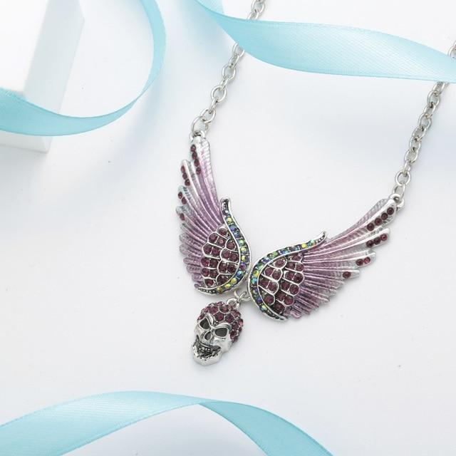brixini.com - Guardian Angel Wings & Skull Choker Necklace