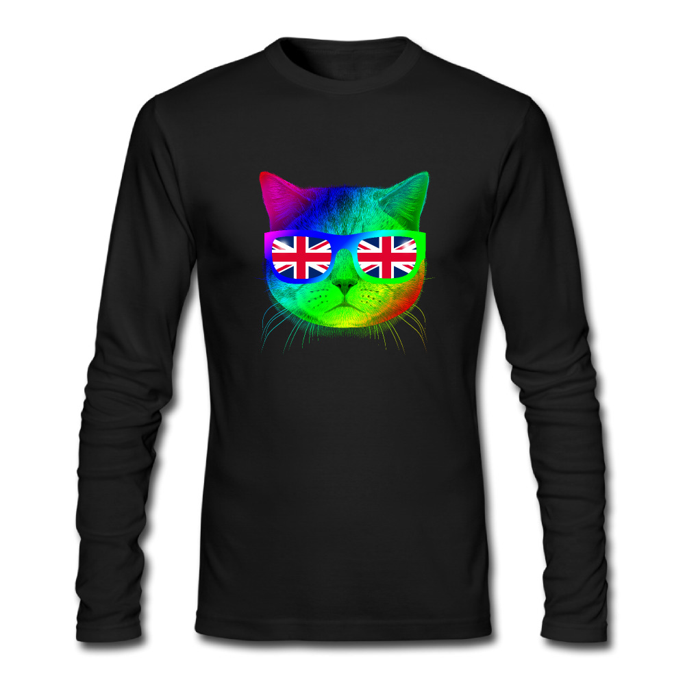 Black flag t shirt uk - 2017 New Creative Fashion Cool Owl Design Men T Shirts O Neck Colorful Uk Flag