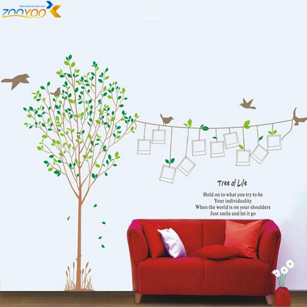 Photo Frame Family Tree Birds Quote Removable Wall Sticker Decals - Wall decals kids roomowl tree branch photo frames wall decal removable wall stickers