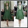 2016  Vestido De Festa Green Short Cocktail Dresses Deep V Neck See Through Lace Bodice Knee Length Tulle Celebity Party Gowns