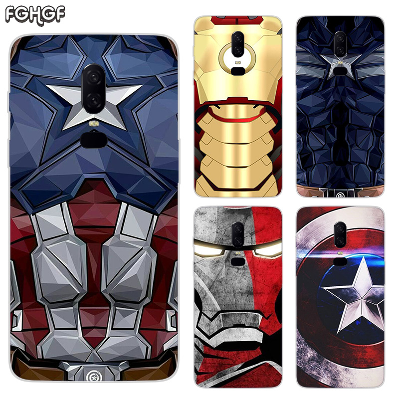 Captain Iron Man Luxury Soft TPU Silicone Phone Back Case For OnePlus 5 5T 6T 6 Frosted Fundas Printed Cover