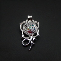 10pcs Silver Rose Pearl Cage Necklace Pendant, Aroma Oil Diffuser Adds Your Own Pearl, Stone Makes It More Attractive.