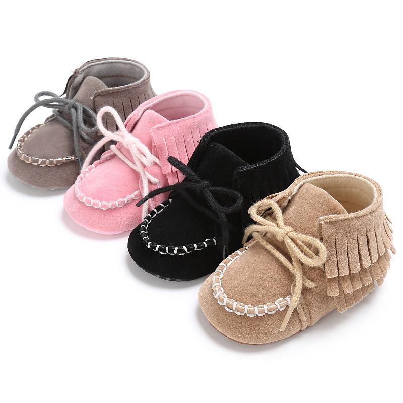 Cute Infant Baby Boy Girl Pre-Walker Soft Sole Crib Shoes Tassel Newborn Sneakers First Walkers Pink Black Gray Khaki 0-18M