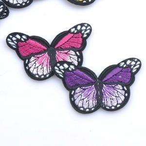 Image 2 - Mezcla de parches de planchado para ropa, parche bordado con apliques de mariposa Multicolor, pegatinas de insignia para ropa MZ421
