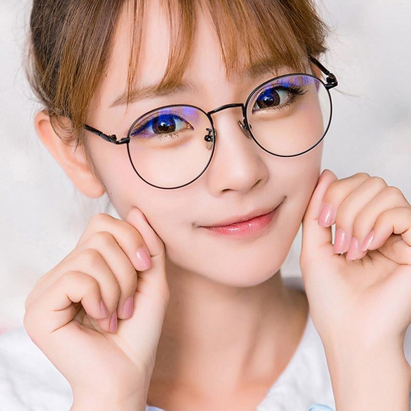 Moldura Redonda óculos de computador Mulheres Óculos de Radiação de Raios de Impressão Gamin Homens Vidros Ópticos Armações de Óculos de Metal Unissex Anti Luz Azul
