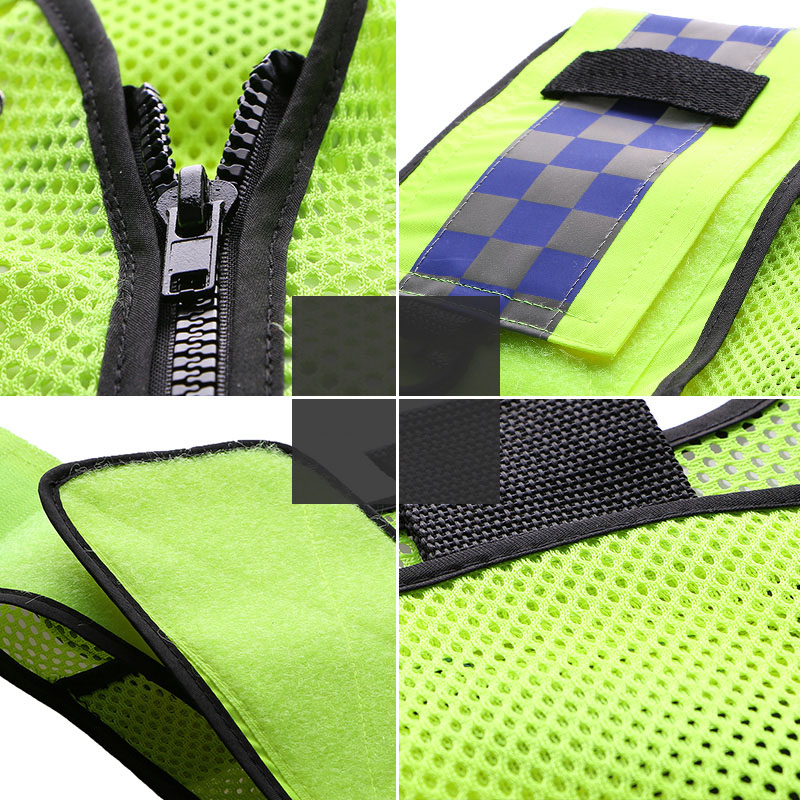 Reflective vest multi-pockets construction workwear safety protection vest traffic road fluorescent clothes outdoor work jacket (2)