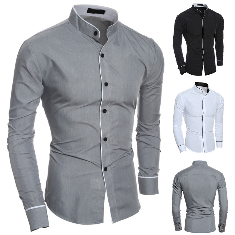 Men Long Sleeves Shirt Slim Fit Stand Collar Simple Casual Tops For Spring H9