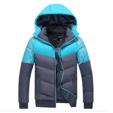 2017 Contrast Color Mens Winter Jackets Men's Parka with hood Men Coat Winter Casual & Fit Thick Man Down Jacket 88z