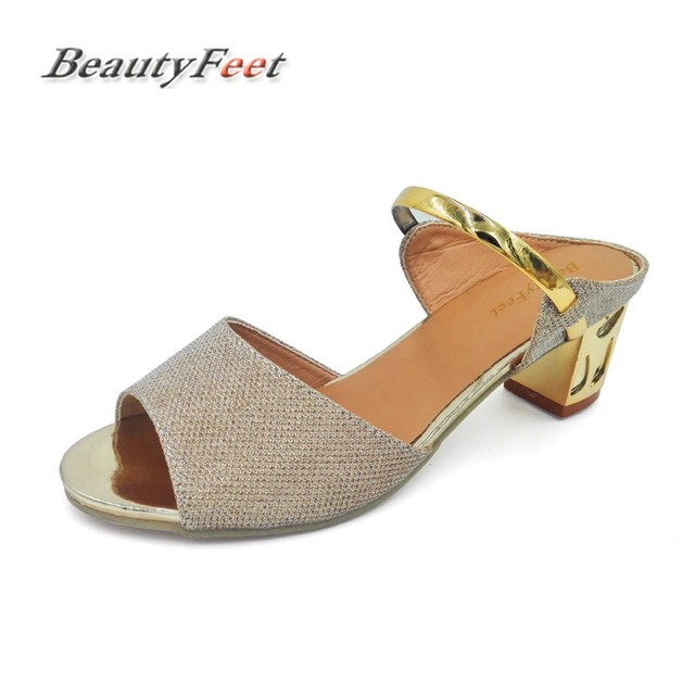 2018 Med Square Heels Zapatos Mujer Gold Sliver Ankle-Wrap Women Sandals  Beautiful Ladies Sandals Summer Shoes Sandale Femme c2c3e0ebb6d3