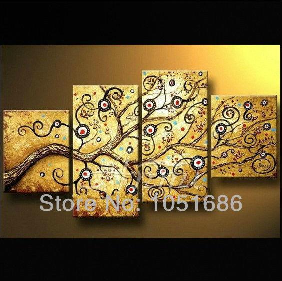 Modern Handmade 4 Piece Canvas Art Yellow Gold Abstract Money Tree ...