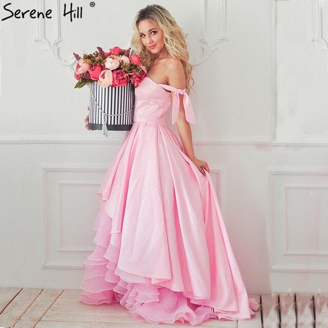 Formal asimétrico vestido de noche de color rosa bebé rosa Ruffles ...