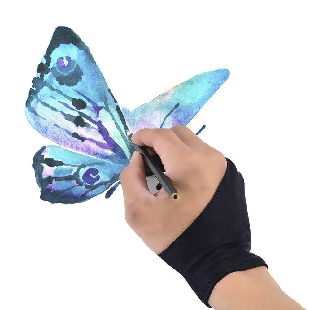 1 Stück Zeichnung Handschuh Künstler Handschuh Für Alle Grafiken Zeichnung Tablet Schwarz 2 Finger-fouling, Sowohl Für Rechts Und Links