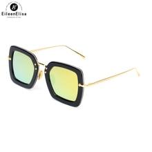 EE 2017 New Fashion Polarized Sunglasses Women Brand Designer Acetate Frame Square Sunglasses Mirror lens Female Sun Glasses