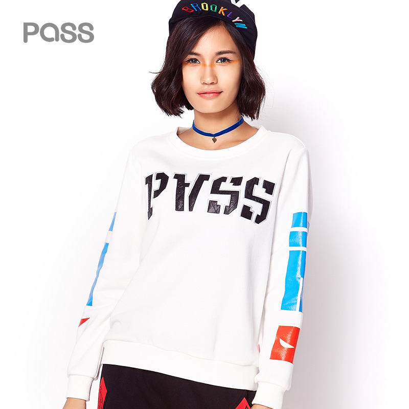 PASS Official Store PASS 2017 Autumn New Fashion Sweatshirts Printing Long Sleeve Female Shirts Casual Streetwear Tops