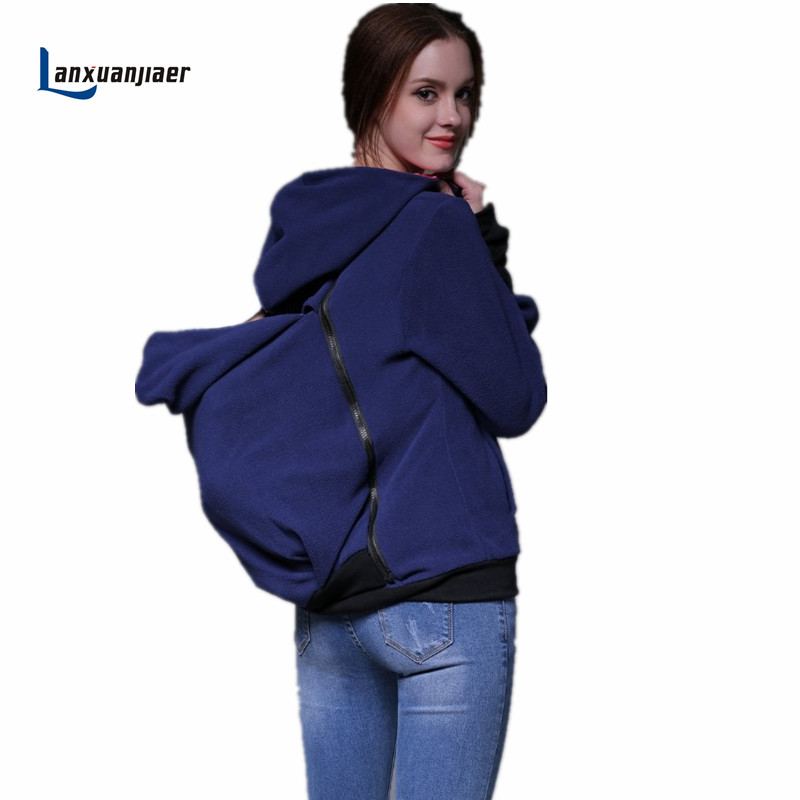 Lanxuanjiaer Pregnant Multifunction Kangaroo Maternity Pullover Sweatshirt Hoodie Jacket Dad Mom and Baby Carrier Coat kangaroo pocket drop shoulder color block sweatshirt