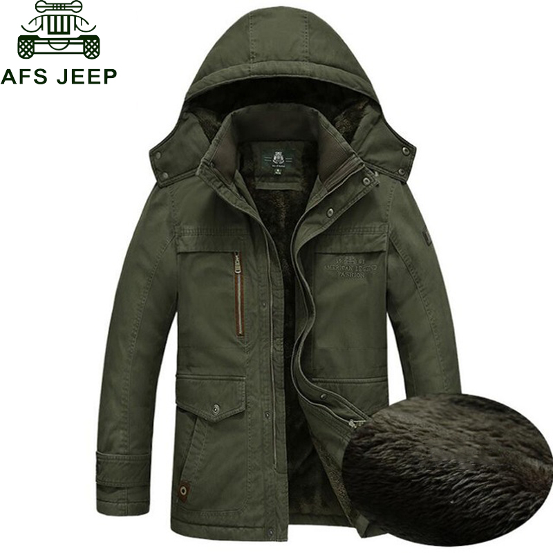 AFS JEEP Brand Army Military   Parka   men Winter Warm Thick Mens Down Jackets and Coats Wool Liner Hooded Collar Winter Jacket Men