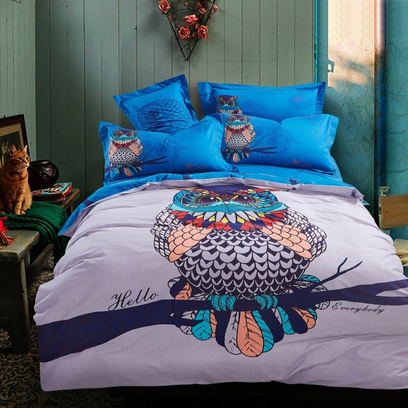 Superbe 4PCS 100% Thicken Cotton Animal Owl Horse Elephant Dog Bedding Sets  Comforter Duvet Cover Set Bed Sheet FULL QUEEN KING SIZE In Bedding Sets  From Home ...