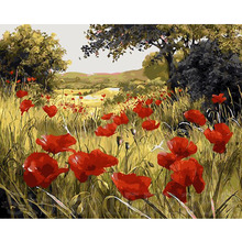 Färbung by zahlen landschaft modularen bilder leinwand malerei auf der wand home dekoration ölgemälde rote blume 40×50 cm e505