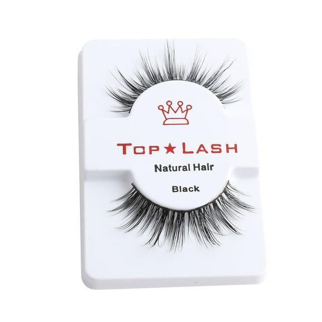 1 Pair Women Lady Sexy Real Mink Hair Black Thick Long False Fake Eye Lashes Cross Eyelashes Super Natural Makeup Tools