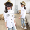 2016 new little teenage kids girls blouse long sleeve tops white spring autumn bear character school blouse children clothing