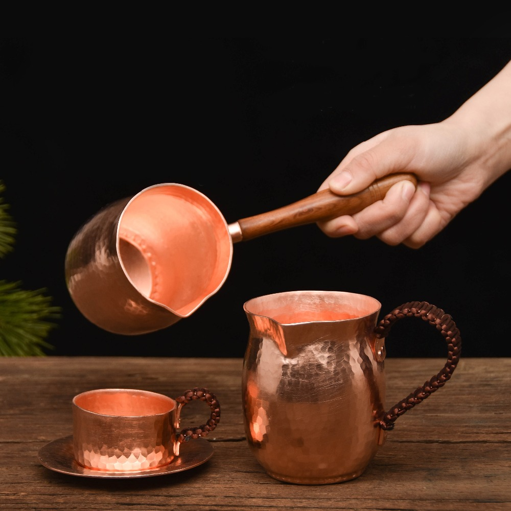 Pure Copper Handmade Coffee Mug Set Turkish Greek Arabic Coffee Pot with Wooden Handle Coffee Maker