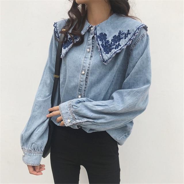 7bd1e3edd6d MUMUZI New Design 2019 Spring Long Sleeve Denim Blouse Turn Down Collar  Embroidery Flower Jean Blouses Vintage Retro Tops Shirts