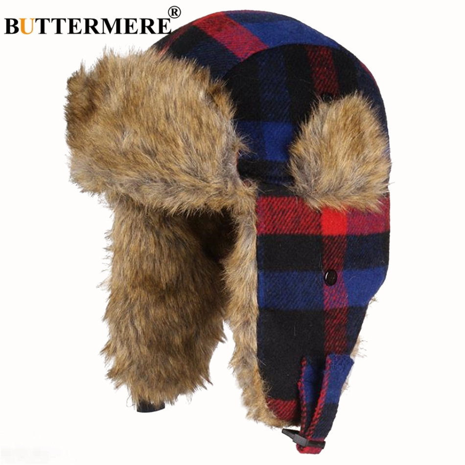 a6b6b8f76 BIG SALE] Wuaumx Winter Bomber Hat Russian Hat Men earflaps cap ...
