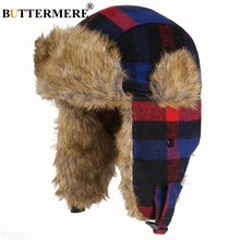 BUTTERMERE Russian Winter Hat Ushanka Women Men Outdoor Bomber Hats Plaid Fur Warm Thick Snow Red Pilot Earflap Trapper Hat buttermere winter hats for men women ski mask warm thick bomber hat earflap russian ushanka hats climb male female trapper hat
