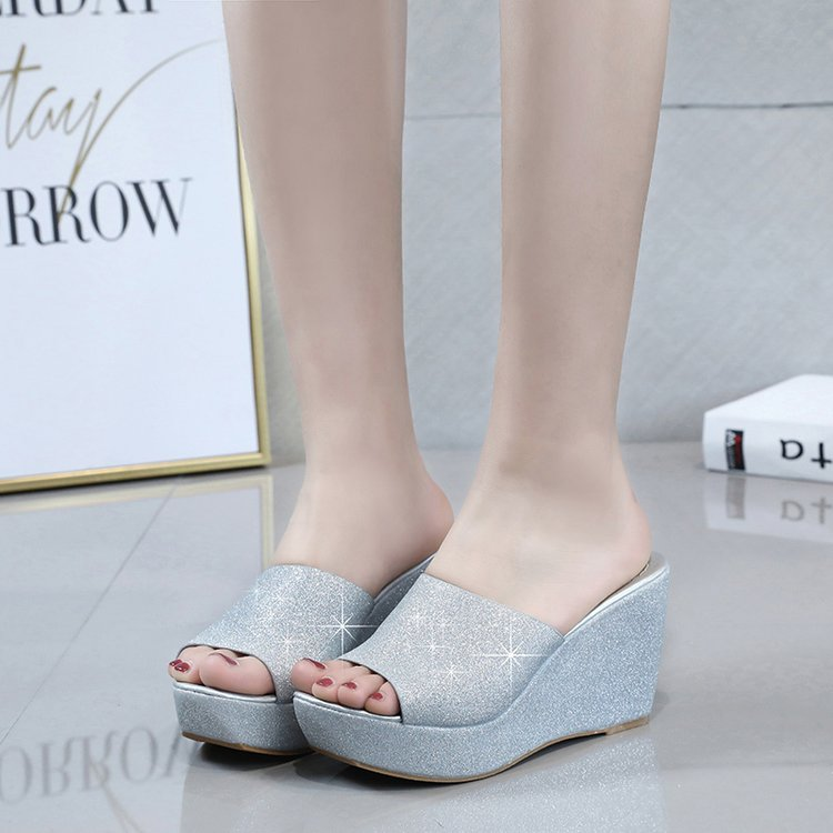 Fashion Handmade <font><b>Sexy</b></font> Glitter Summer <font><b>Wedges</b></font> Platform <font><b>Slippers</b></font> 2019 New <font><b>Women</b></font> Casual Outside <font><b>High</b></font> <font><b>Heels</b></font> Bling Flip Flops <font><b>Shoes</b></font> image