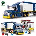 Camión de la ciudad comisaría building blocks set 537 unids con 7 figuras de juguete juguetes educativos sluban ladrillos compatibles con lego city