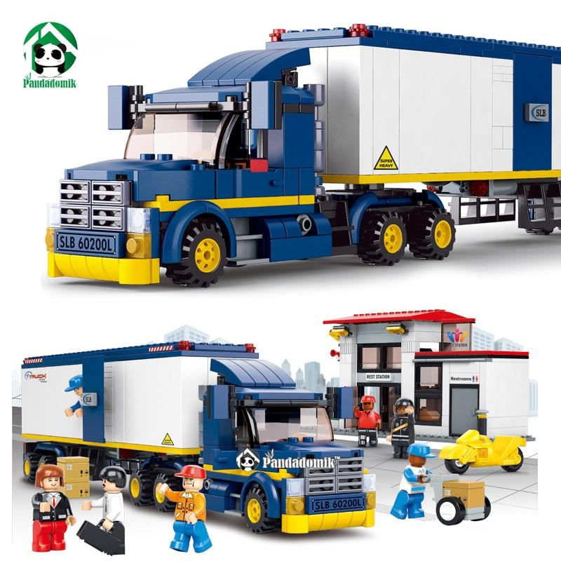 ФОТО City Truck Station Building Blocks Set 537pcs with 7 Toy  Figures Educational Toys Sluban Bricks Compatible with lego City