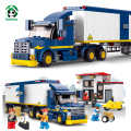 City Truck Station Building Blocks Set 537pcs with 7 Toy  Figures Educational Toys Sluban Bricks Compatible with lego City
