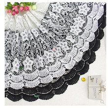30-32 cm wide White and black Water soluble milk silk ribbon hollow lace trim fabric for Sewing on Bridal Wedding dress Crafts