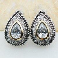 Weiß Kristall Zirkon 925 Sterling Silber Ohrringe TE619