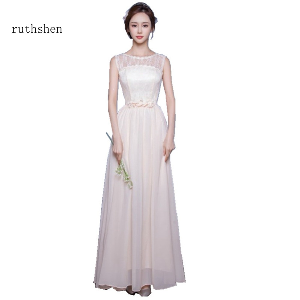 ruthshen Charming In Stock   Bridesmaid     Dresses   2018 Flowers Lace Wedding Gust   Dress   Chiffon Sleeveless A Line Party Gowns 2018