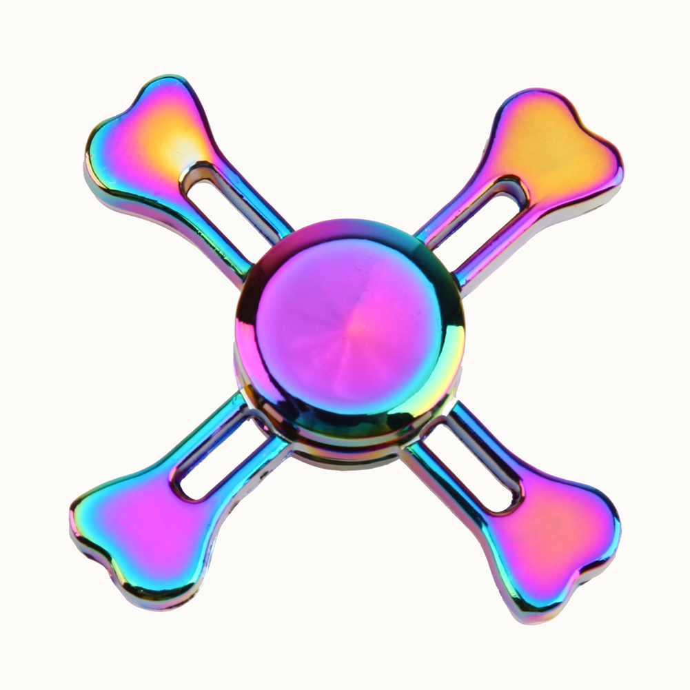 Rainbow Fidget Spinner Metal Tri Spinner EDC Hand Finger Spinner for Autism and ADHD Focus Anxiety