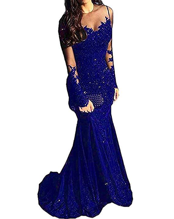 Long Sleeves Beaded Satin Mermaid Prom Dress Lace Evening Formal Gowns Abiti Da Cerimonia Da Sera