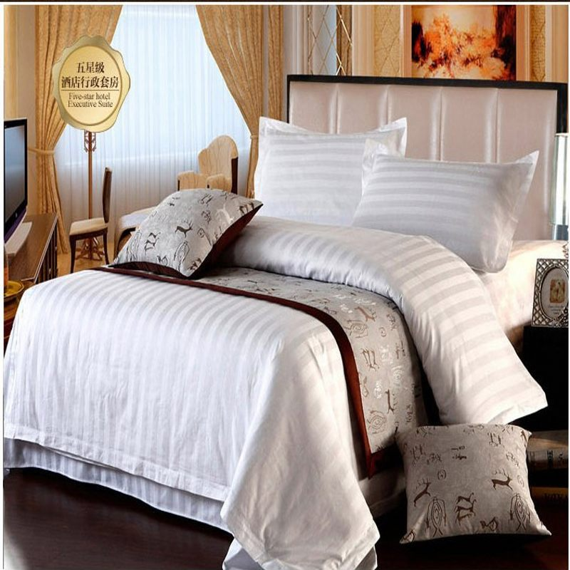 5 Star Hotel Home Textile White Stripe Bedding Set Queen King 4pcs  Quilt/Duvet Cover Bedclothes Bed Sheet Set Cotton In Bedding Sets From Home  U0026 Garden On ...