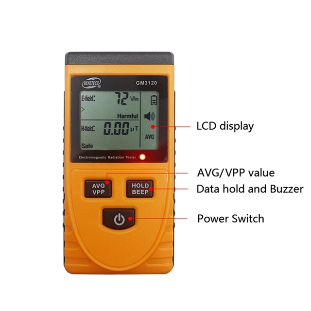 Gm3120 lcd electromagnetic radiation detector tester radiation meter dosimeter counter measurement for computer mobile phone