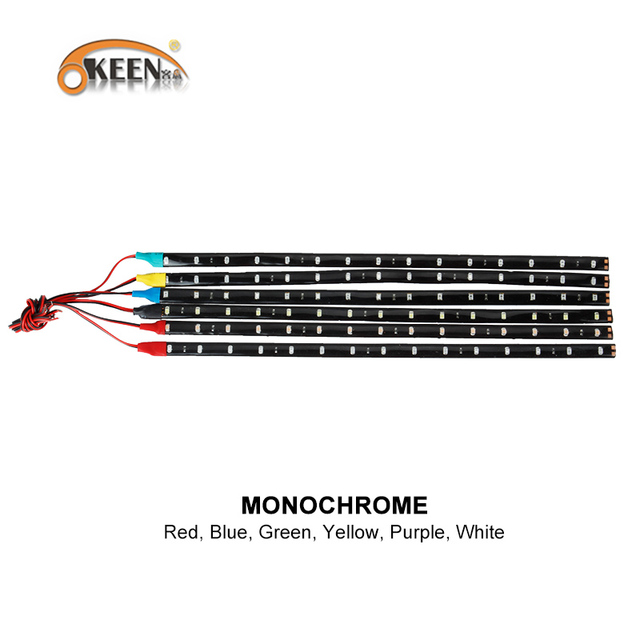 low priced 18af0 f0319 US $2.04 49% OFF|KEEN 2pcs 3528 15SMD 30cm light car strip decoration light  12V 7colors of flexible short led strip IP65 waterproof car styling-in ...