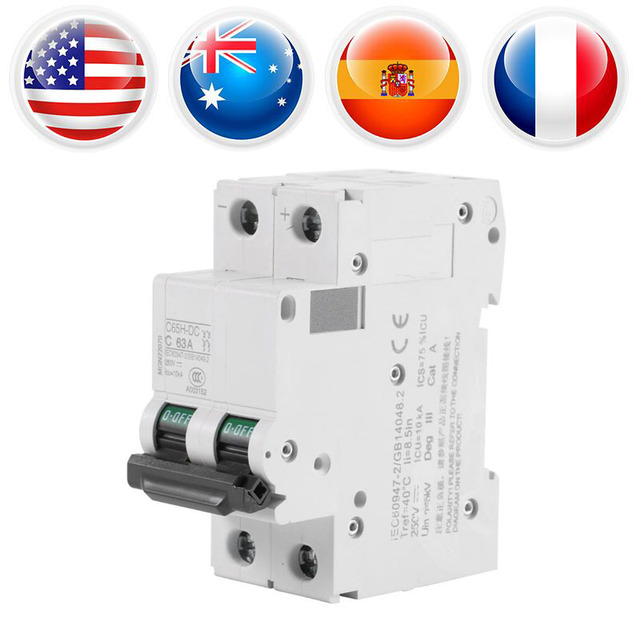 DC 250V 63A Circuit Breaker  Solar Energy Switch 2-Pole Low-voltage Miniature Air Circuit Breaker Electric Shock Protector