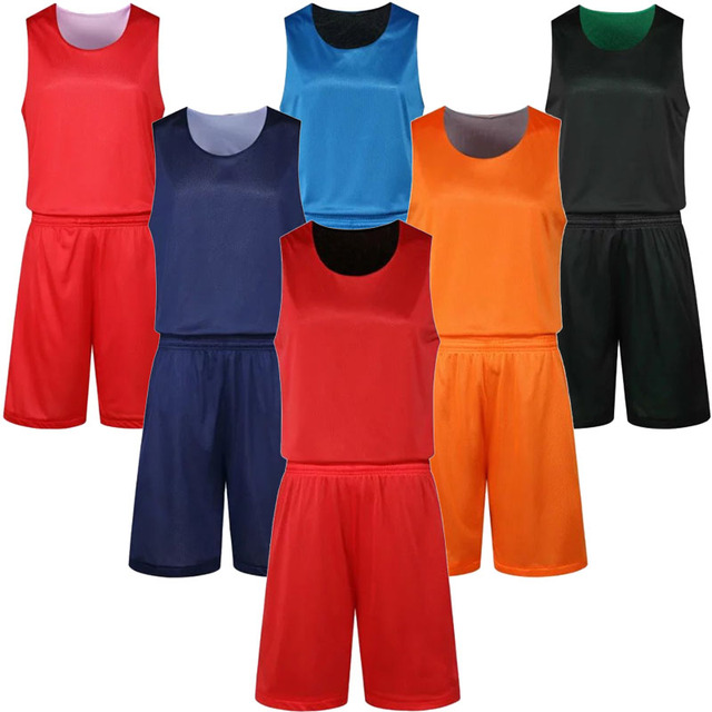 155f7c0830a Men s reversible basketball sets men double-face two side basketball jerseys  shorts adult running uniforms customize any logos
