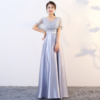 2019 New V neck Silver Pink Pearls Zipper Back With Jacket Party Formal Dress Short Sleeve Beads Sexy Long Evening Dresses