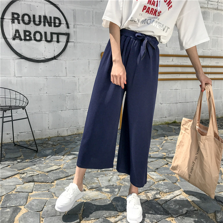 19 Women Casual Loose Wide Leg Pant Womens Elegant Fashion Preppy Style Trousers Female Pure Color Females New Palazzo Pants 53